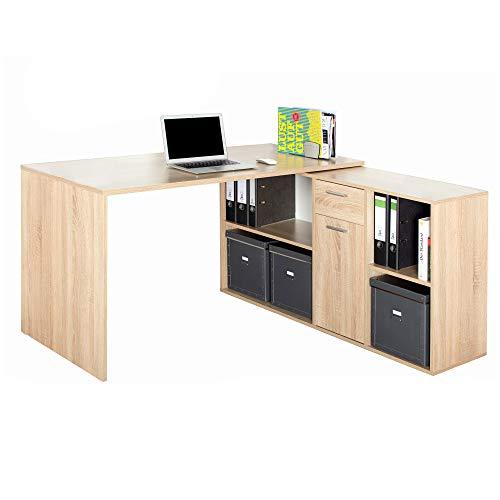 RICOO Eck-Schreibtisch Arbeitstisch Winkel-Kombination Office Bürotisch (WM081-ES) Gaming Computer-Tisch (Flexibel 90-180°) Holz Sonoma Eiche mit Regal Akten-Schrank Low-Board