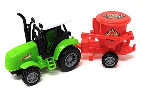EWTG 100802 L 25cm Traktor Spielzeug Trekker Großer Schlepper Mit Agrar-Anhänger Steuer Streu-Anhänger