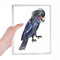 ディープブルーのオウムの鳥 硬質プラスチックルーズリーフノートノート