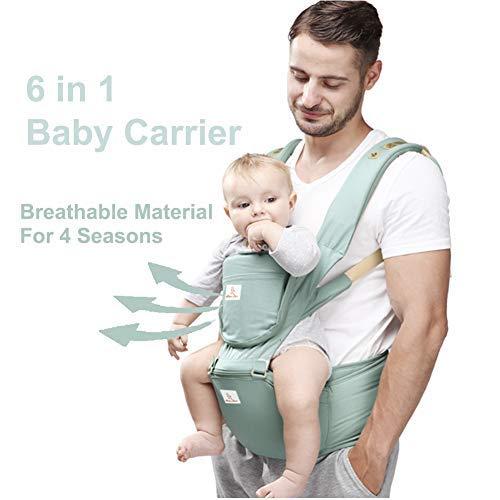 Happy Walk Mochilas portabebé Ergonómico Ajustable Marsupios Portabebé 6 en 1 Baby Carrier Ergonomico con Asiento y Transpirable para Recién Nacidos y Niños Pequeños de 0 a 4 Años(Verde)