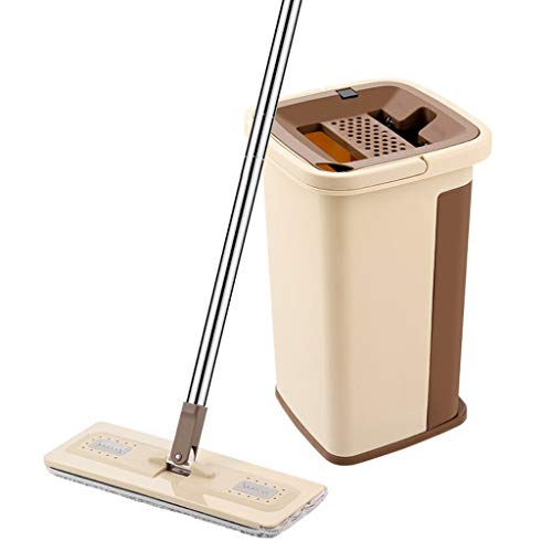 Review QYLSH Pressing The Flat Mop and Bucket Set, Automatic Drying System Comprises A Washable Mop ...
