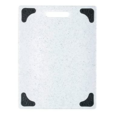 Dexas Grippboard Cutting Board with Non-Slip Feet, 11 by 14.5 inches, Light Granite pattern and Black