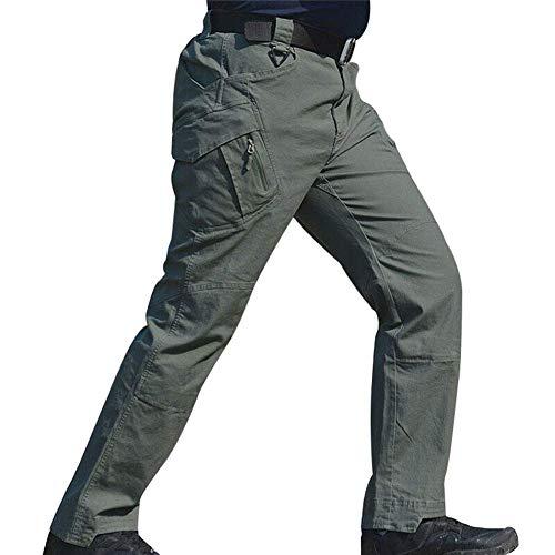Usuny Herren Arbeit Cargo Lange Hose mit Taschen Lockere Hose Arbeitshose Khaki Farbe - Grün, XL