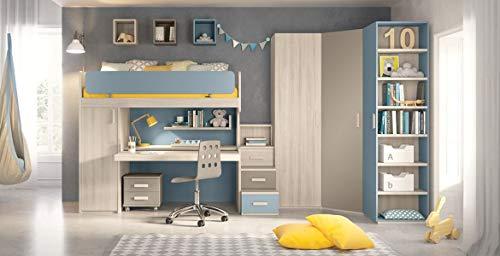 Cameretta completa per ragazzo, colori blu, grigio caldo, olmo. Completa di: 1 Letto castello armadio + scrivania - 2 Mensola - Comodini - Sedia girevole - Armadio 1 anta. 100 % Made in Italy (SF21)