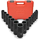 Neiko 02475A 1/2' Drive Deep Impact Socket Set, 14 Piece | 6 Point Metric Sizes (11-32 mm) | Cr-V Steel