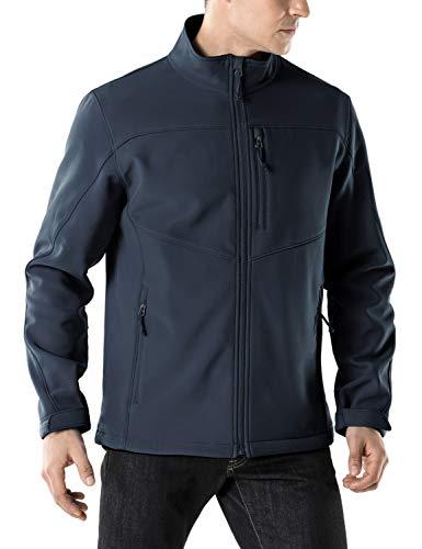 TSLA Men's Softshell Athletic Microfleece Active Wind-Repel Coat Full-Zip Outdoor Water-Proof Jacket, Active Softshell(ykj80) - Navy, X-Large