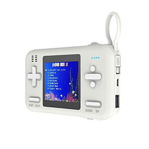 Xyfw Consola De Juegos Portátil De 2,8 Pulgadas De Pantalla Color Incorporada De 416 Regalos Juegos Gamepad con 8000Mah Banco De La Energía De Cumpleaños Niños,Blanco