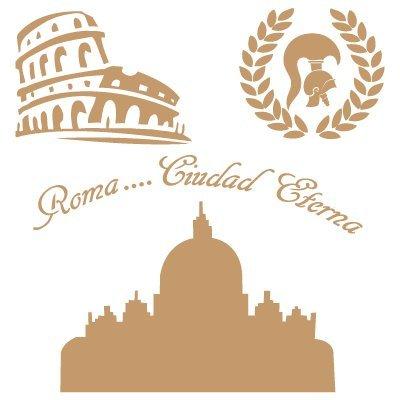TODO-STENCIL Deco Vintage Composición 137 Roma. Medidas aproximadas: Medida Exterior 20 x 20 cm Medida del diseño:15,9 x 16,5 cm