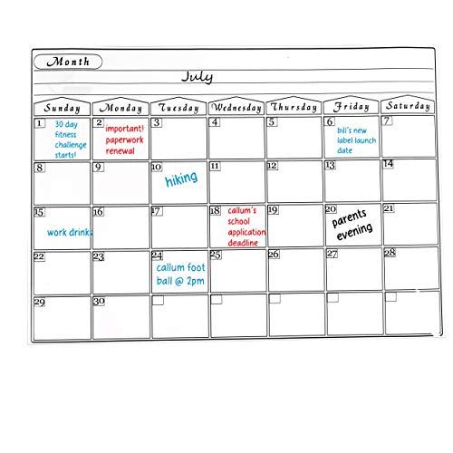 Placa de frigorífico Magnético Planificador semanal de comida grandes compras Drywipe A3 Tablero de aviso