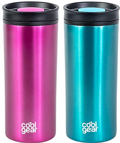 2 PACK COOL GEAR 16 oz Amelia Coffee Travel Mug with Spill Proof Slider Lid | 2 Pack Colored Tumbler