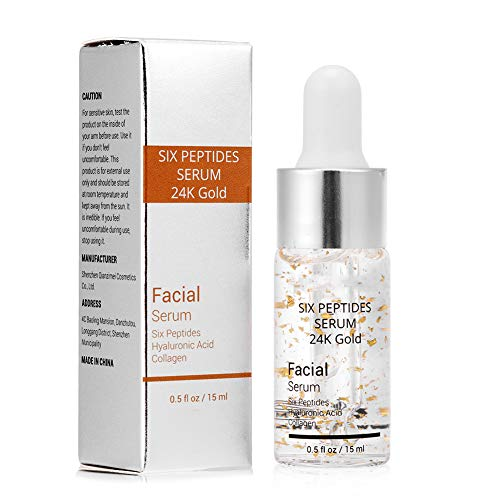 Gesichtspflege Serum, Hyaluronsäure Sechs Peptide Essenz 24K Gold für Striae Anti-Falten-Creme Anti Aging Feuchtigkeitsspendende Kollagen 15ml
