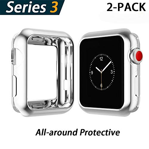 YoLin Apple Watch Series 3 Schutzhülle, iwatch case Weiche Superdünne TPU iwatch Bildschirmschutz All-Aro& Hülle für Apple Watch Serie 3 38mm (1 Silber + 1 Transparent)