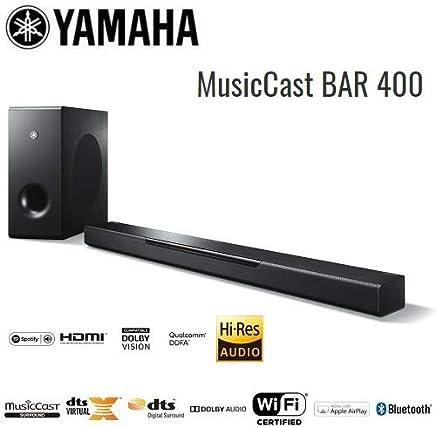 Yamaha MusicCast BAR 400 Sound Bar with Wireless Subwoofer, Alexa Connectivity - Black - YAS408 - Black