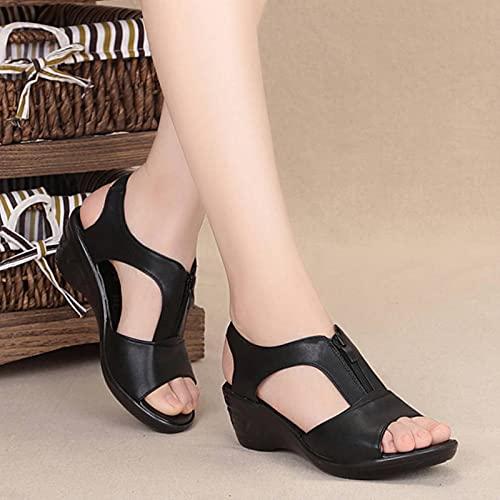 DZQQ 2021 été Femmes Sandales Sandales compensées Grande Taille Sandales Chaussures Plates pour Femmes Sandales Dames Sandales Romaines Sandalias