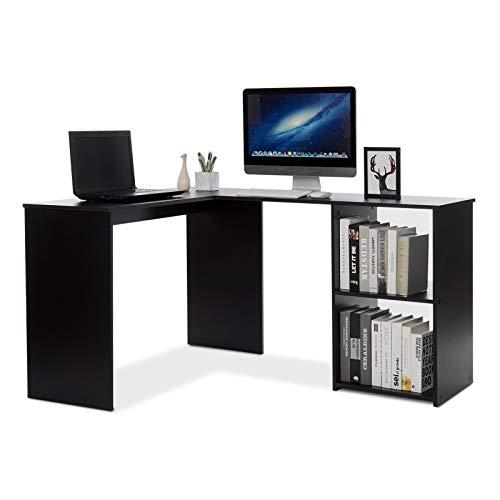 Mondeer Eckschreibtisch, Computertisch L-Förmig Schreibtisch mit 2 Ablagen Großer fürs Arbeitszimmer Wohnzimmer Büro 108×135×73,5 cm (Schwarz)