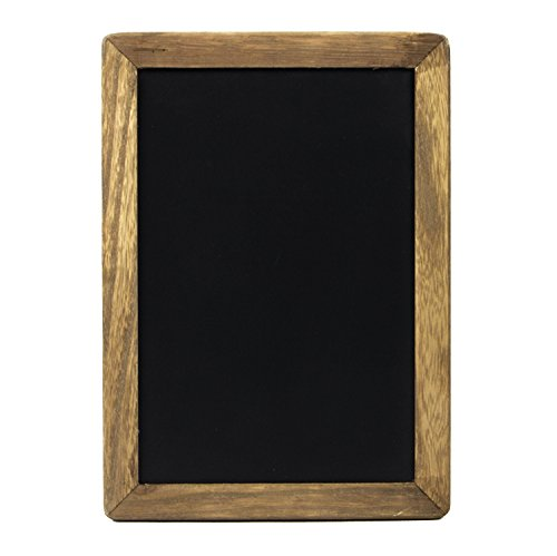 Small Rustic Hanging Chalkboard Sign with Wood Frame and Magnetic Surface for Kitchen, Menu, Wedding Decor - Compatible with Liquid Chalk Ink Markers (7 x 10 Inches)