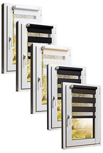 TEXMAXX Doppelrollo Klemmfix ohne Bohren 60 x 220 cm (Stoffbreite 56 cm) in Creme - Beige - Klemmfix Rollo - Rollos für Fenster ohne Bohren