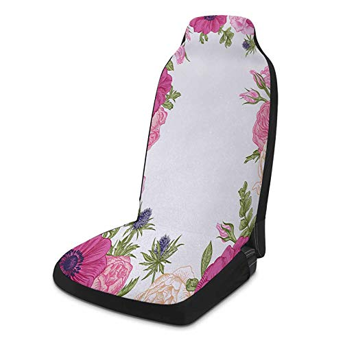 Winter Car Seat Cover 1 Piece, Anemone Flower Auto Seat Cover - Pink Rose and Anemone Flowers Frame Lively Bridal Wedding Design, Pink Green Apricot