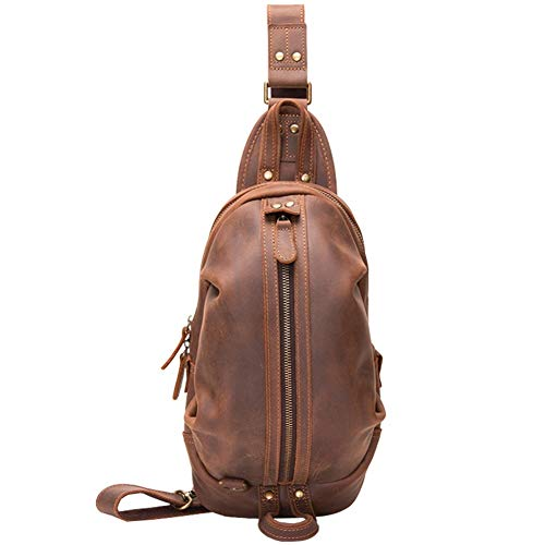 AJMINI Gym Bags Leather Sling Backpack Men, Cross Body Chest Bag Business Casual Outdoor, Sling Bag for Travel Hiking Cycling, Brown Friend's gift