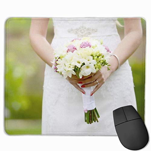 Nettes Gaming-Mauspad, Schreibtisch-Mauspad, kleines Mauspad für Laptop-Computer, Mausmatten-Braut in der Spitze Brautkleid, das Bouquet hält