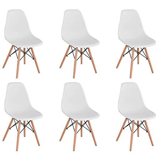 BenyLed Set di 6 Sedie da Pranzo in Plastica Stile Retrò per Sala da Pranzo, Cucina, Ufficio, Ristorante, ecc. (Bianco)