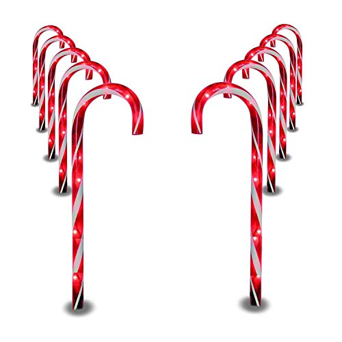SUNYPLAY Christmas Candy Cane Pathway Marker Lights,10 Pack Outdoor Decoration Lights for Holiday Walkway Patio Garden.