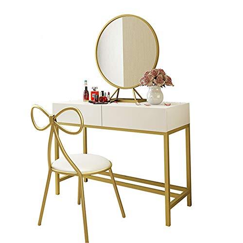 Table de Maquillage avec Miroir Vanity Set avec 2 Grands tiroirs Coiffeuse avec 1 Tabouret (Couleur, Taille : 80x40x80cm)