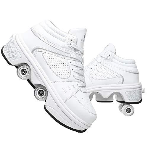 Patines de Patines para niños con Luces LED, Rodillo de deformación de la Rueda de Doble Fila Skate 2 en 1 Zapatos de Parkour/Rodillos de Patada al Aire Libre,42