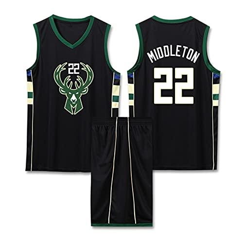DDOYY Middleton # 22 Bucks - Traje de baloncesto sin mangas, camiseta sin mangas, camisetas de baloncesto, uniformes de competición, espectáculo de fiesta negro-XL