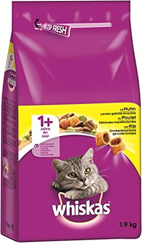 Whiskas Katzenfutter Trockenfutter Adult 1+ mit Huhn, 2 Beutel (2 x 1,9kg)