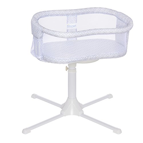 HALO Bassinest Swivel Sleeper Bassinet - Essentia Series, White, Blue Ikat