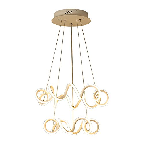 CHEN Kronleuchter LED Persönlichkeit einfach stilvoll Double Dumb weiß Aluminium Wohnlandschaft Moderne kreative Wohnzimmer Esszimmer Lampe unregelmäßigen Durchmesser 21,65 in [Energieklasse A +]