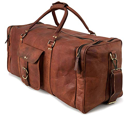 Urban Lederen Bags Weekender Luggage XL Ruime lederen sporttas vrijetijdstas dames heren vintage bruin 60 cm grote reistas voor heren