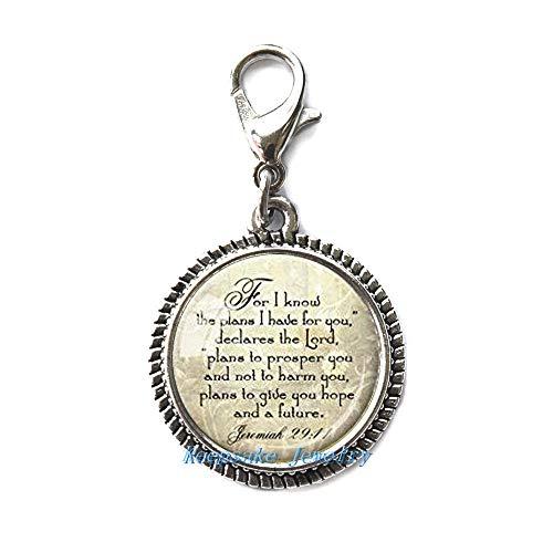 JEREMIAH 29:11 CHRISTIAN ZIPPER PULL, perfecto para collares, pulseras, llaveros y pendientes encanto JEREMIAH hecho a mano joyería nu255