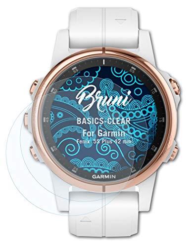 Bruni Schutzfolie kompatibel mit Garmin Fenix 5S Plus 42 mm Folie, glasklare Bildschirmschutzfolie (2X)