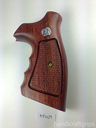 Smith & Wesson K/l Frame Round Butt Revolver Grips Hardwood Finger Groove Checkered Handmade #Krw29
