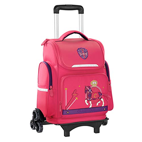 LHY EQUIPMENT Large Capacity Trolley Backpack, Safety Reflective Trolley Rolling Bag Breathable And Protect The Spine Easy To Install Waterproof Detachable Wheeled Backpack,Pink