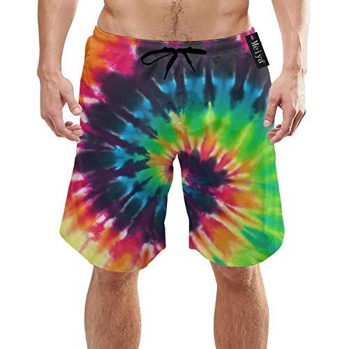 Ye Hua Bunte Tie Dye Stoff Textur Herren Badehose Sommer Coole Quick Dry Boardshorts Badeanzug mit Seitentaschen Mesh Futter XXL