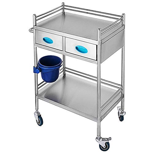 VEVOR Lab Serving Cart,Utility Cart with Two-Story,Rolling Cart with Two Drawers,for lab Equipment,Use Grade I Stainless Steel,Utility Services (2 Shelves/ 2 Drawer)