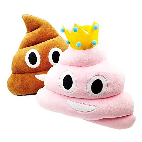 JZK 2 Emoji Kissen Smiley Kackhaufen 36 cm Kuschelkissen Plüsch Kackhaufen Kissen Poop Kackhaufen Emoji Spielzeug Weihnachten Geburtstagsgeschenk für Kinder Erwachsene, Rosa & braun