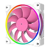ID-COOLING ZF-12025-PINK Case Fan 120mm 5V 3 PIN Addressable RGB Cooling Fan MB Sync, 4 PIN PWM Speed Control Fans for Radiator/CPU Cooler/Computer Case