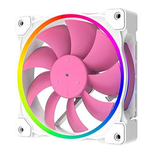 ID-COOLING ZF-12025-Pink - Ventilador de Carcasa RGB direccionable, 3 Pines 5 V ARGB MB Sync, para Ventilador de radiador/Ventilador de Carcasa