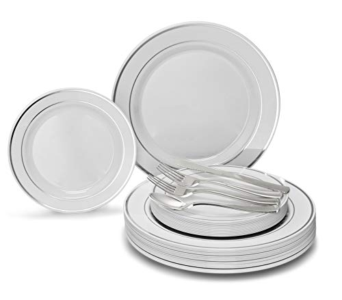 OCCASIONS 150pcs set (25 Guests)-Wedding Plastic Plates & cutlery -Disposable heavyweight Dinnerware 10.5'', 7.5'' + Silverware w/double fork (White & Silver Rim)