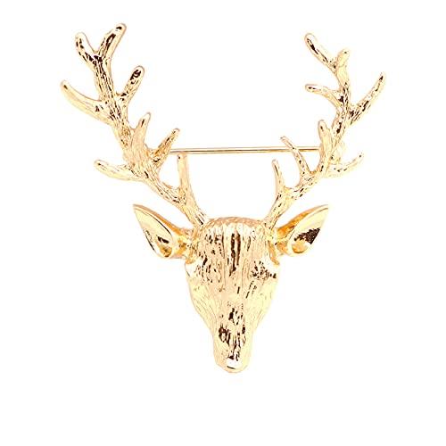 SHUJIA Retro Elk Broche Pin Pines Original Ciervos Pines y broches para Mujeres y Hombres Traje Cuello Accesorios