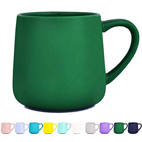 Bosmarlin Glossy Ceramic Coffee Mug, Tea Cup for Office and Home, 18 oz, Suitable for Dishwasher and Microwave, 1 Pack (Dark Green)