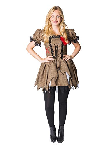 Thetru Disfraz de muñeco vudú Vestido de adulto Disfraz de muñeco marrón Muñeca de trapo Carnaval de Halloween (M)