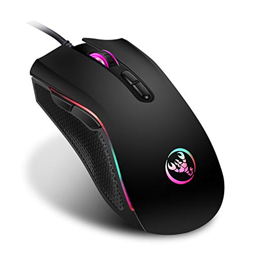 Gaming Wired Mouse, Enfourclass LED Colorful Wired Mouse with 4 Adjustable DPI for MacBook, Laptop, MacOS 10.10, Android 5.0, Windows 8 or Above (Black)