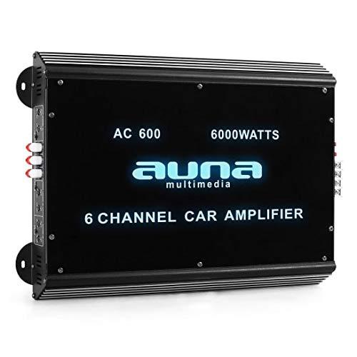 auna W2-AC600-6-Kanal Auto-Endstufe, Amplifier, Car HiFi Verstärker, 540W RMS bis zu 6000 W max, Tiefpass-Filter, 20 Hz-20 kHz Frequenzbereich, LED-Lichteffekt, 6/5/4/3/2/1-Kanal Betrieb, schwarz