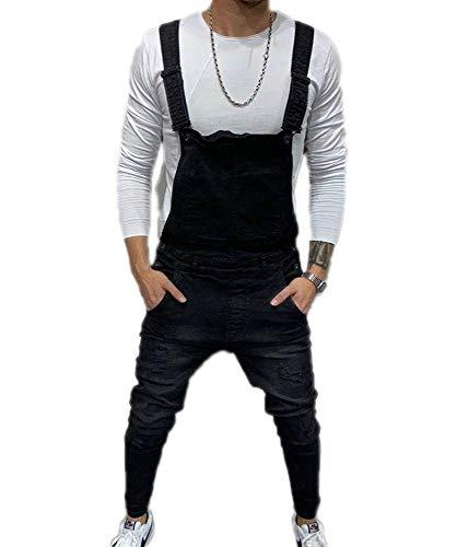 Herenmode gescheurde denim jumpsuit Verstelbare schouderriem Jeans Overalls Tuinbroek