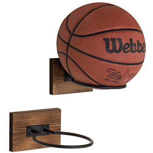 MyGift Wood & Metal Wall-Mounted Sport Ball Equipment Storage Rack & Display Holder, Set of 2